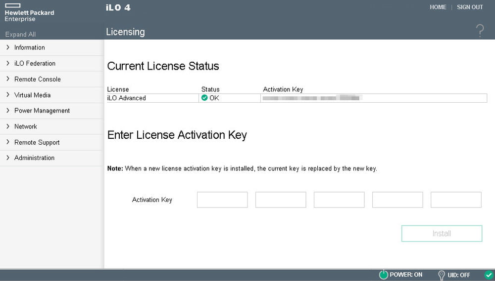 ilo 2 temporary license key