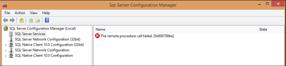 SQL configuration manager remote procedure call failed (0x800706be